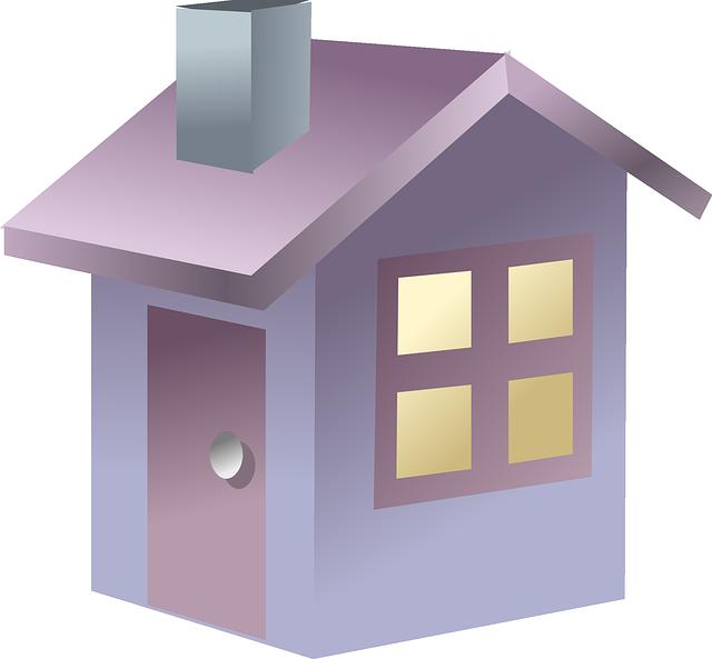malý fialový domek