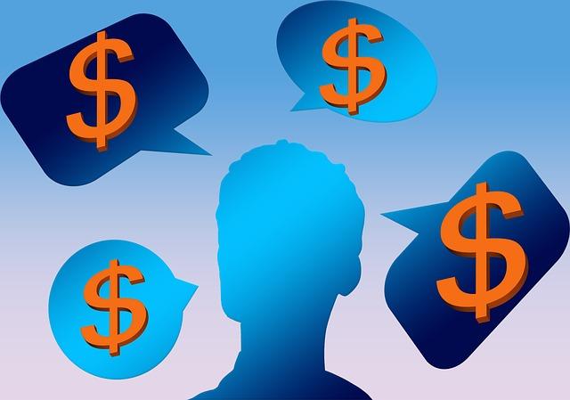 myšlenky na peníze, ilustrace, symbol dolaru